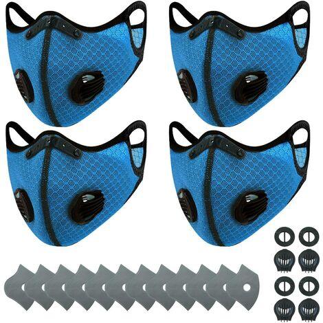 Perle rare Masque de cyclisme charbon actif anti-poussière PM2.5 sports de plein air maille hommes et femmes vélo hiver masque de chaleur bleu 3F1), masques de sport 4 + 12 filtres + 24 valves respiratoires