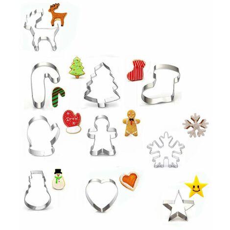 Perle rare Moule à biscuits 10 pièces Ensemble d'emporte-pièces de Noël emporte-pièce en acier inoxydable