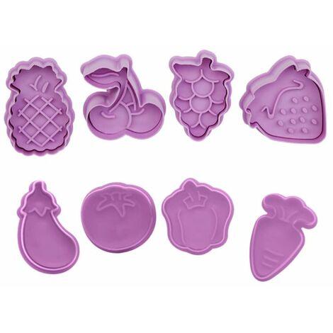 Perle rare Moule à biscuits en plastique de dessin animé 3D en trois dimensions, type de presse, ensemble de moules à biscuits de Pâques de la Saint-Valentin ((ensemble de fruits + ensemble de légumes