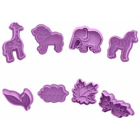 Perle rare Moule à biscuits en plastique de dessin animé 3D en trois dimensions, type de presse pour la Saint-Valentin et l'ensemble de moules à biscuits de Pâques (ensemble animal + ensemble de feuilles