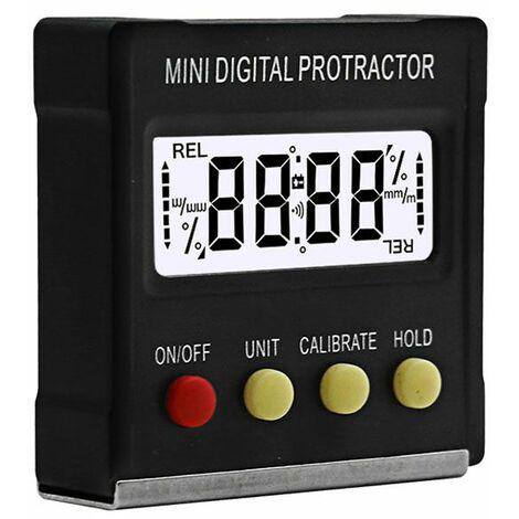 Perle rare Niveau électronique, mini inclinomètre de rapporteur numérique à 360 degrés, niveau électronique, outil de mesure à base magnétique--