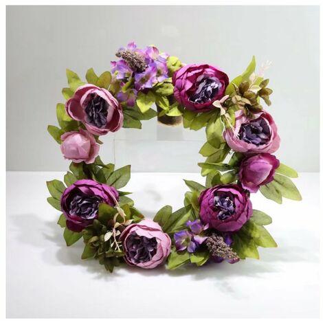 Perle rare Noël porte heurtoir simulation guirlande soie tissu pivoine fleur mariage décoration guirlande simulation fleur canne cercle canne anneau violet