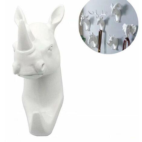 Perle rare Patère Key Animal rhinocéros blanc