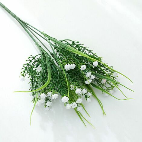Perle rare Plantes vertes artificielles, bouquets de roses, fleurs artificielles en plastique, jardinières d'extérieur, plantes décoratives, plantes vertes artificielles, fleurs roses (blanc (4 pièces)