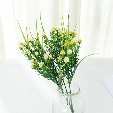 Perle rare Plantes vertes artificielles, bouquets de roses, fleurs artificielles en plastique, jardinières d'extérieur, plantes décoratives, plantes vertes artificielles, fleurs roses (jaune (4 pièces)