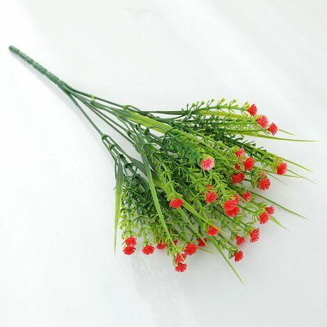 Perle rare Plantes vertes artificielles, bouquets de roses, fleurs artificielles en plastique, jardinières d'extérieur, plantes décoratives, plantes vertes artificielles, fleurs roses (rouge (4 pièces)