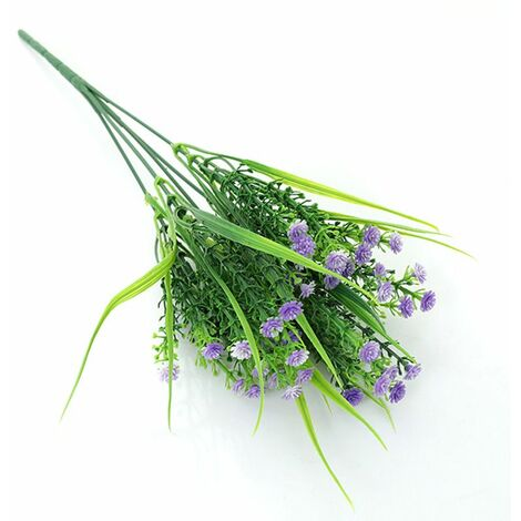 Perle rare Plantes vertes artificielles, bouquets de roses, fleurs artificielles en plastique, jardinières d'extérieur, plantes décoratives, plantes vertes artificielles, fleurs roses (violet (4 pièces)