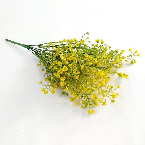 Perle rare Plantes vertes artificielles, matériaux de mur végétal, fleurs en pot en plastique, décoration de la maison, accessoires de composition florale, saule doré (jaune-vert)