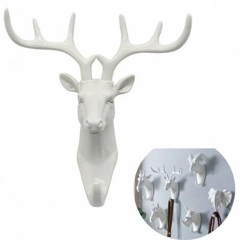 Perle rare Porte-manteau et porte-manteau Porte-serviettes Crochet mural Clé Porte-manteau animal Cerf blanc(