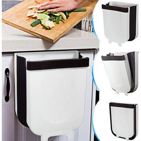 Perle rare Poubelle de cuisine pliable-9L Poubelle de cuisine avec porte armoire, Blanc, Petit