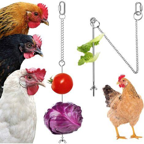 Perle rare Poulet suspendu mangeoire poulet perroquet suspendu mangeoire à oiseaux en acier inoxydable mangeoire à poulet jouet