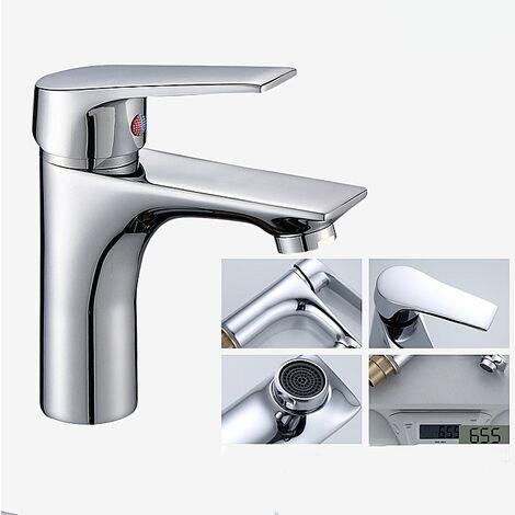 Perle rare Robinet de salle de bain robinet monotrou Robinet de lavabo chaud et froid en cuivre