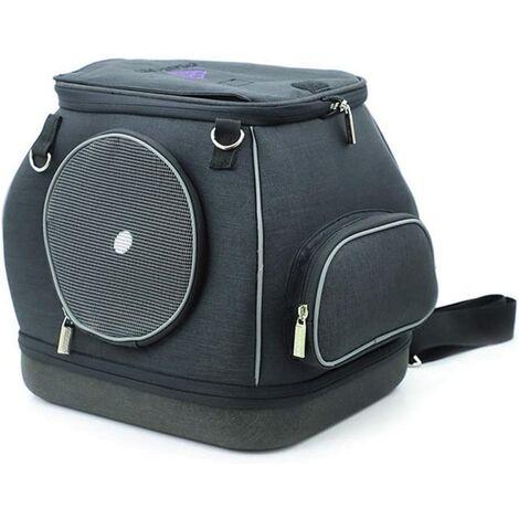 Perle rare Sac à dos pour chat Sac à dos amovible indéformable pour petit chien Pet Out Bag, noir