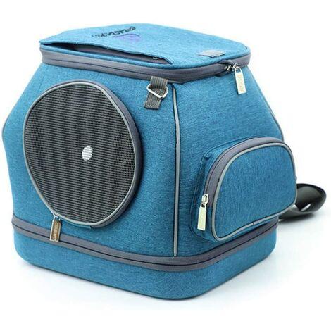 Perle rare Sac à dos pour chat sac à dos amovible indéformable pour petit chien, sac pour animaux de compagnie, bleu