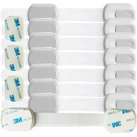 Perle rare Sécurité enfants Verrou de sécurité pour bébé pour serrure d'armoire Vis supplémentaires de porte d'armoire à tiroir sans colle 3M (8 paquets de serrures d'armoire de sécurité pour enfants)