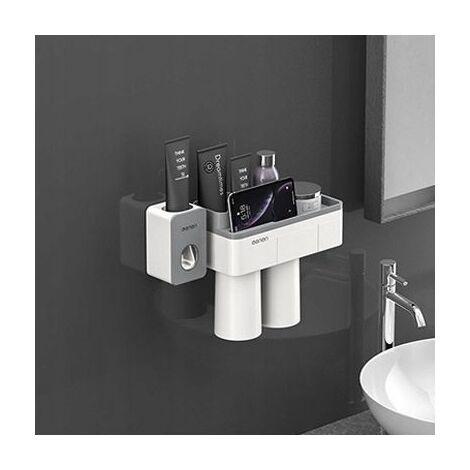 Perle rare Support à ventouse magnétique, support de rangement pour meuble-lavabo, 2 bouches + presse-dentifrice