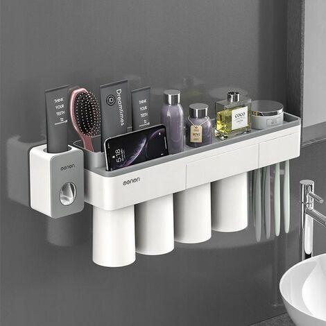 Perle rare Support à ventouse magnétique, support de rangement pour meuble-lavabo, 4 bouches + presse-dentifrice