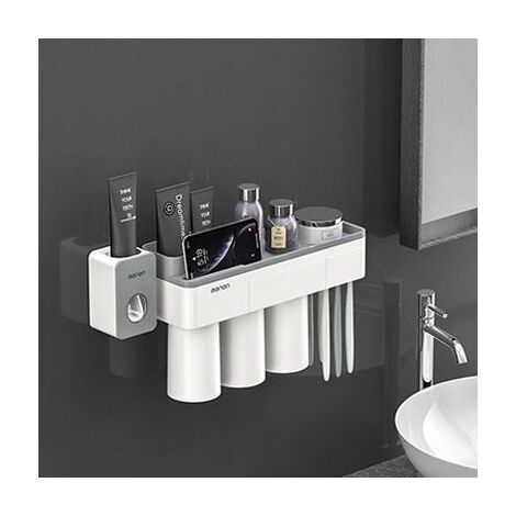 Perle rare Support de salle de bain Support mural 3 tasses + dentifrice Boîte de rangement pour appareil de compression mural Support à ventouse magnétique sans perforation