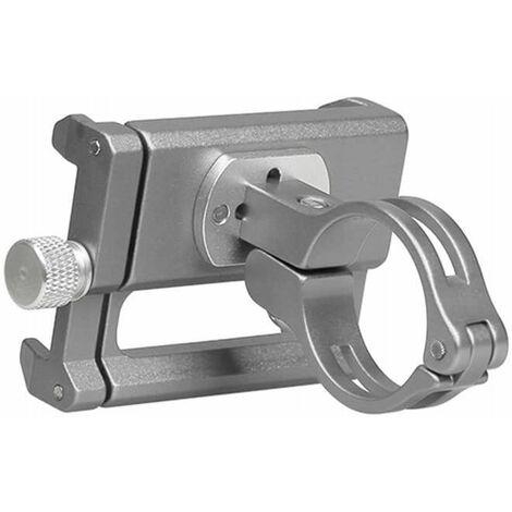 Perle rare Support de téléphone de vélo et de moto - Support de téléphone de vélo en aluminium avec support de téléphone à poignée rotative et réglable à 360 °, adapté pour téléphone portable de 3,5 à 6,5 pouces (argent)
