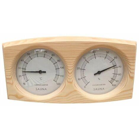 Perle rare Thermomètre Hygromètre en bois de pin pour Sauna fond Spa Accessoire de sauna