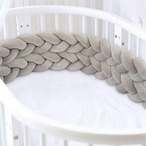 Perle rare Tour de Lit, Tressé Pare-chocs, berceau de lit de bébé noué tressé 4 tissage bébé tissant décoration de pare-chocs tressé pour lit de bé (200cm gris)