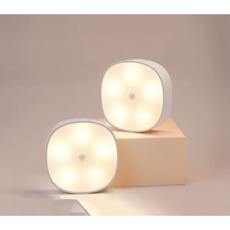 Perle rare Veilleuse LED Détecteur de mouvement intérieur magnétique avec coussin en caoutchouc gratuit pouvant être collée n'importe où, capteur sans fil rechargeable USB   Blanc chaud   Paquet de 2