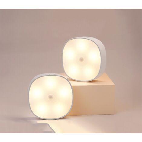 Perle rare Veilleuse Led, Magnétique lampe detecteur de mouvement interieur avec tampons adhésifs gratuits, Coller n'importe où, Capteur sans fil USB rechargeable   Blanc chaud   Paquet de 2-