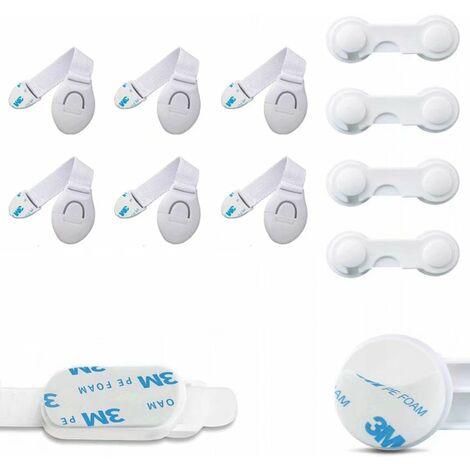 Perle rare Verrouillage de l'armoire du réfrigérateur Serrure de l'armoire de sécurité pour bébé 10 combinaisons (6x serrure de ceinture en tissu blanc, 4 * verrou de sécurité blanc)