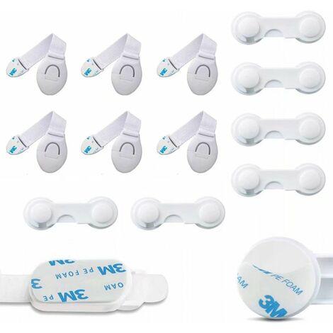 Perle rare Verrouillage de l'armoire du réfrigérateur Verrou de l'armoire de sécurité pour bébé 12 combinaisons (6x serrure de ceinture en tissu blanc, 6 * verrou de sécurité blanc)
