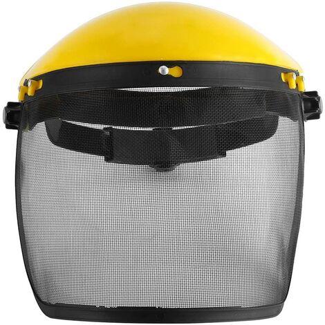 Perle rare Visière de protection Visière en maille métallique anti-chocs Masque anti-copeaux poli (jaune