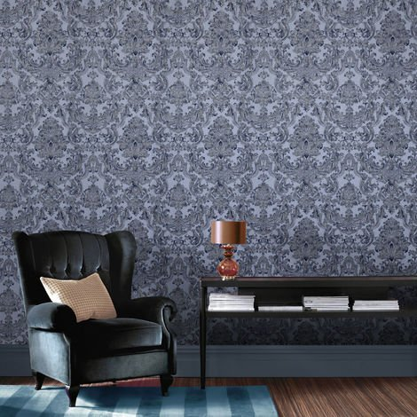 Permier Montague Blue Heavy Weight Vinyl Damask Wallpaper (Was £23)
