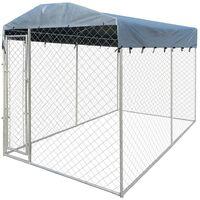 Perrera jaula de exterior con toldo 4x2 m