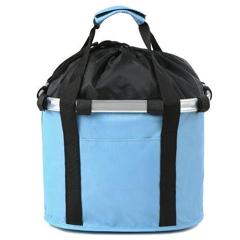 Perro Gato bicicleta plegable pequena cesta para mascotas bolsas portatiles desmontable de bicicletas frente del manillar La cesta de ciclo del frente del bolso, azul