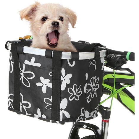Perro Gato bicicleta plegable pequena cesta para mascotas bolsas portatiles desmontable de bicicletas frente del manillar La cesta de ciclo del frente del bolso, Flores