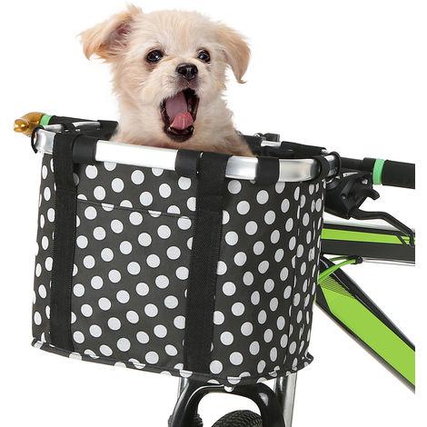 Perro Gato bicicleta plegable pequena cesta para mascotas bolsas portatiles desmontable de bicicletas frente del manillar La cesta de ciclo del frente del bolso, punto de la onda