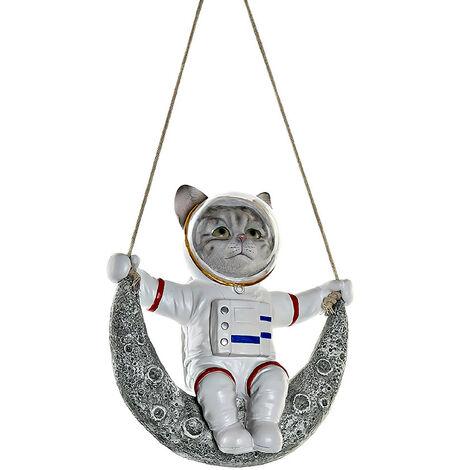Perro/Gato Figura Colgante Decorativa de Resina, Decoración Infantil de Interior. Diseño Figura Astronauta 18,5X9X20,5 cm Modelo - A