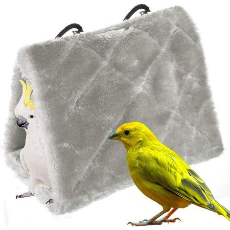 Perroquet Nid d'Oiseau Animal Nid d'hiver Hiver Chaud Hamac Cabane Pendaison de pour Parrot(L, Gris)