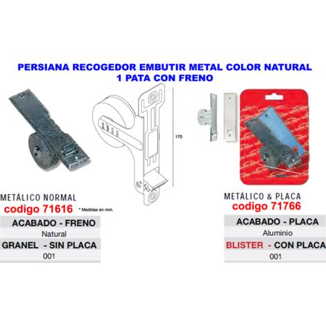 PERSIANA BL-RECO.EMBUTIR METAL 1 PATA+FRENO+PLACA ALU=07003001