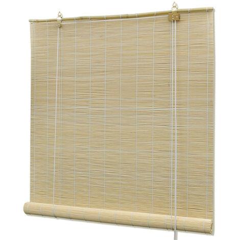 Persiana enrollable de bambu color natural 80x220 cm