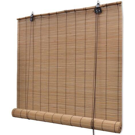 Persiana enrollable de bambú marrón 100x220 cm - Marrón
