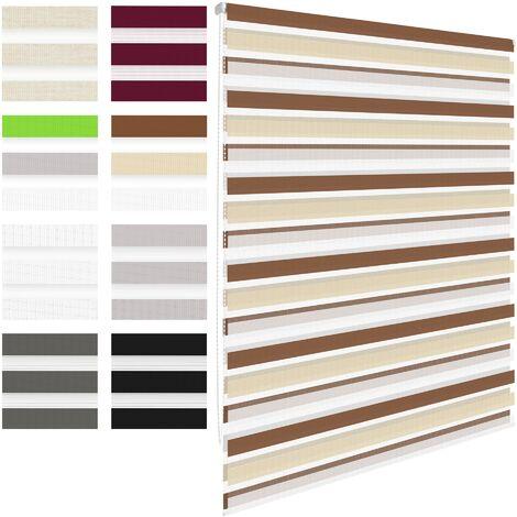Persiana enrollable doble para ventana corredera 90 x 230 cm blanco crema marrón