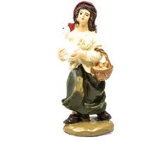 def093385f87 Personaggio del presepe di Natale donna con papera e vestito bianco 9cm
