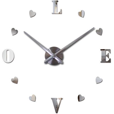 Personality European and American DIY Super Large Mirror Simple Wall Clock 3D Creative Wall Sticker Clock Eva Acrylic Mirror Silver Watch