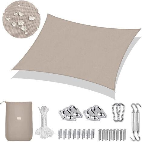 PES Sonnensegel Rechteck 300 x 200cm Sonnenschutzsegel, Anthrazit mit Seil