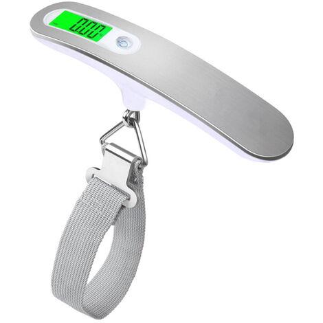 Pese-Bagages Numerique, Balance Suspendue Portable, Avec Retroeclairage, Blanc