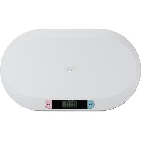 Pèse bébé, Digital, Balance électronique nouveau-né, nourrisson, petits animaux domestiques, max. 20 kg, blanc