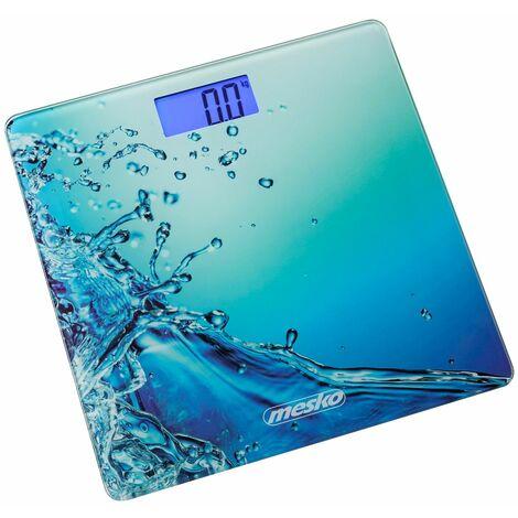 Pèse personne Mesko MS8156 Motif eau - Charge max 150 kg - Verre trempé - Précision 100g