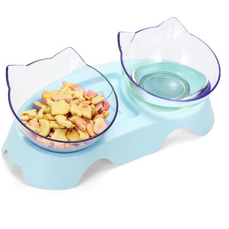Pet bowls with raised stand Blue