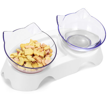 Pet bowls with raised stand White