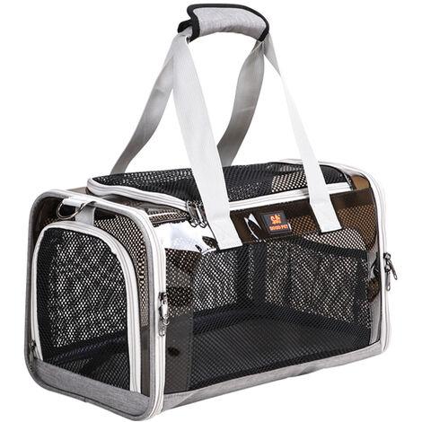 Pet Car Bag Pet Carrier Bolso de viaje portatil para mascotas para perros pequenos, medianos, gatos, malla transpirable ventilada, L, gris